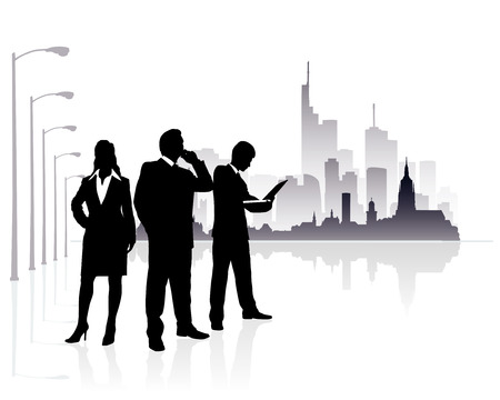 people silhouette with modern city background