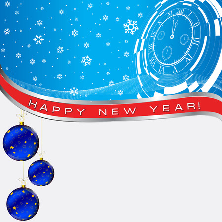 new year card with christmas decor, abstract watch and earth map on snowflaks background Vector