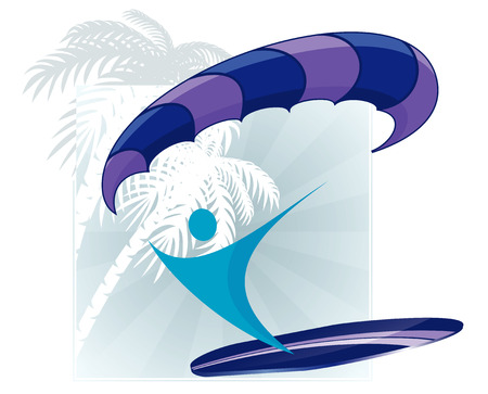 surfer silhouette: abstract surfer silhouette with paraplane and surf on abstract tropical silhouettes background