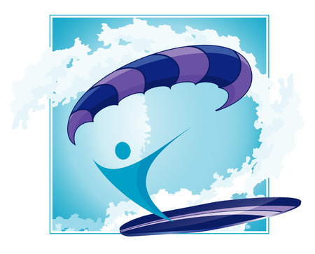 surfer silhouette: abstract surfer silhouette with paraplane and surf on abstract wave background