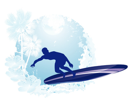 surfer silhouette: surfer silhouette with abstract tropical silhouettes background
