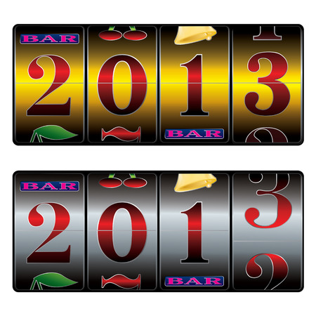 new year 2013 in slot machine in golden and silver variantes Vector