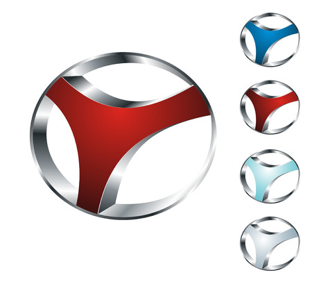 set of four colorful icons of abstract steel wheel, isplated on white