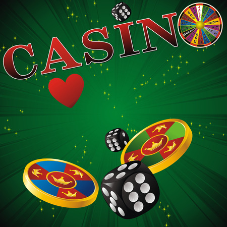wheel of fortune: casino sign with fortune wheel, chips, dice and cards on green strip background Illustration