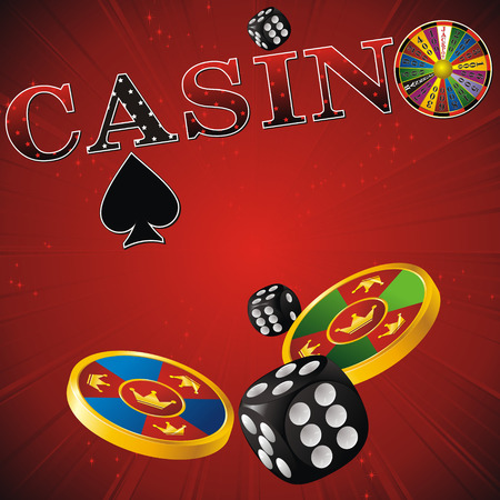 wheel of fortune: casino sign with fortune wheel, chips, dice and cards on red strip background Illustration