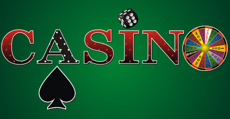 wheel of fortune: casino sign with fortune wheel, dice and cards on green background Illustration