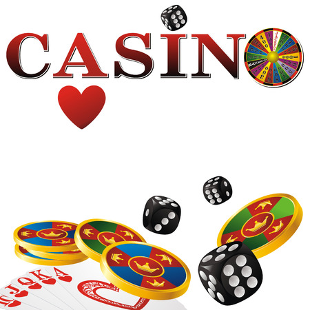 wheel of fortune: casino sign with fortune wheel, chips, dice and cards on white background
