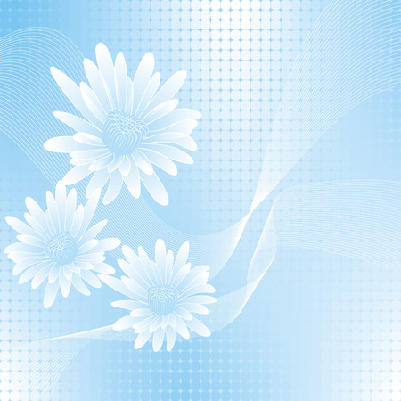 calendula flower: abstract blue flowers on geometric cell background