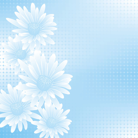 calendula: abstract blue flowers on geometric cell background
