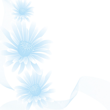 calendula: abstract blue flowers on abstract background