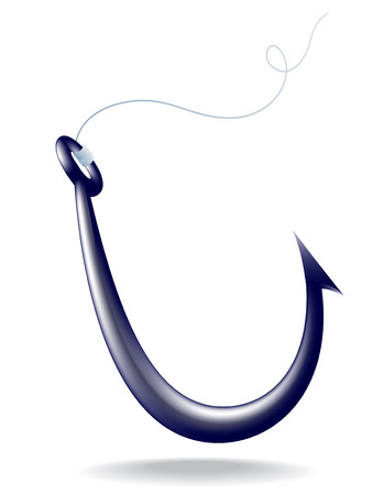 fishhook: black iron fishhook, isolated on white with shadow Illustration