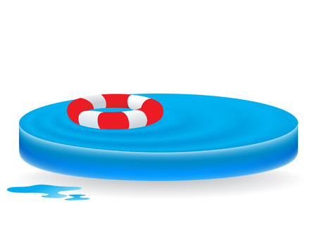 sign as blue water waves with lifebuoy Illustration