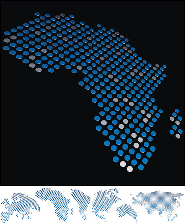 bottom line: abstract Africa map from on array of blue and gray metallic points, on black background with maps of the continents on the white bottom line