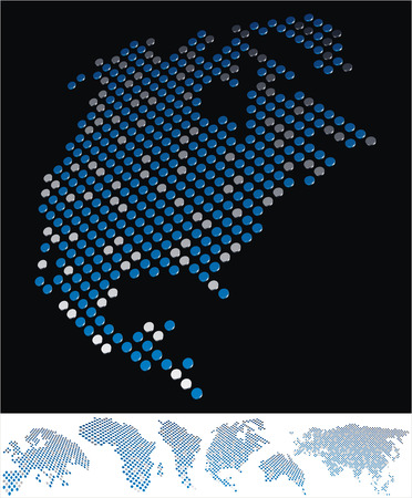 bottom line: abstract North America map from on array of blue and gray metallic points, on black background with maps of the continents on the white bottom line Illustration