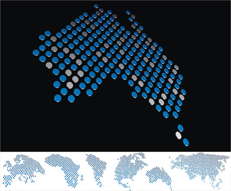 bottom line: abstract Australia map from on array of blue and gray metallic points, on black background with maps of the continents on the white bottom line Illustration