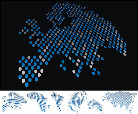 bottom line: abstract Europe map from on array of blue and gray metallic points, on black background with maps of the continents on the white bottom line Illustration