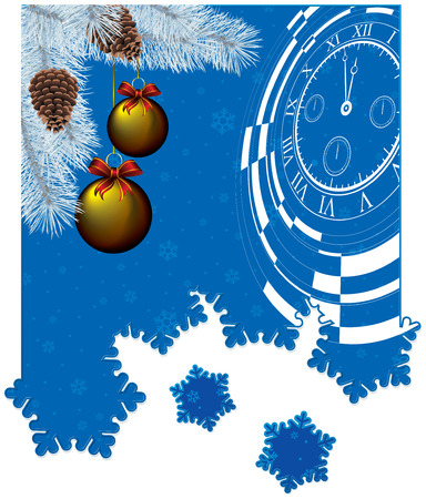 new year card with christmas decor, abstract watch on snowflakes background with snowflakes cutout Vector