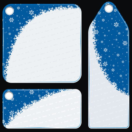 selloff: set of sale labels, winter snowflakes decorated Illustration