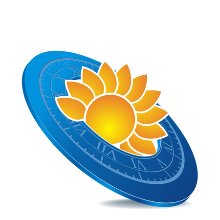 pictogram als blauwe zonnewijzer met oranje zon