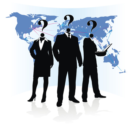 silhouette of group unknown people on earth map background Stock Vector - 27595792