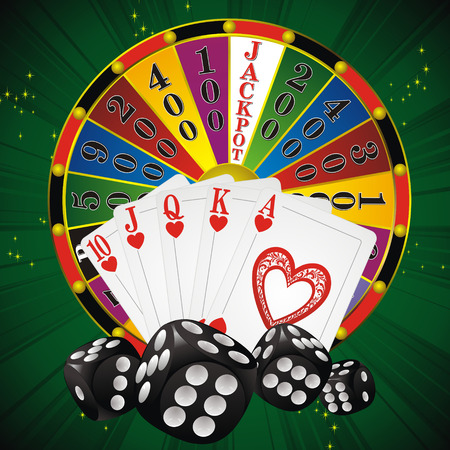 wheel of fortune: casino symbols fortune wheel, dice and cards on green strip background