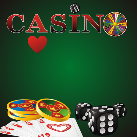 wheel of fortune: casino sign with fortune wheel, chips, dice and cards on green background Illustration