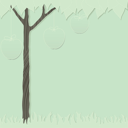 green cutout card as stylized apple tree and grass Vector