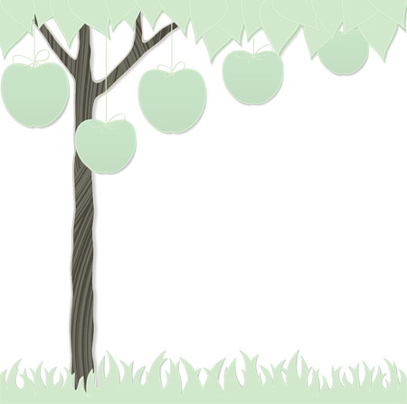 cutout card as stylized apple tree and grass Vector