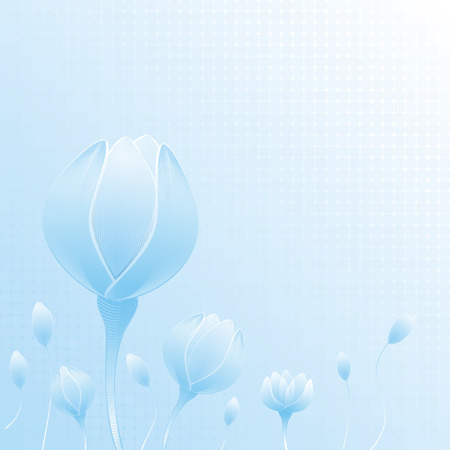 bourgeon: abstract blue flowers on geometric cell background