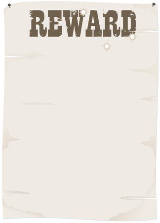 threadbare: vecchio foglio di carta con il titolo di ricompensa e un fori di proiettile