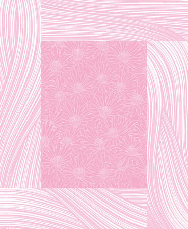 frame as circuit pink chamomile with abstract pink strips Vector