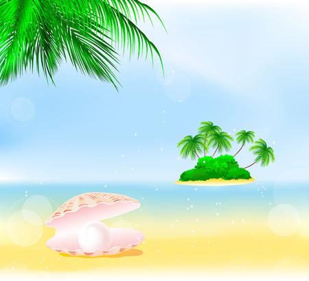 perle rose: coquille de mer avec perle rose sur la plage d'�t� sous les palmiers verts