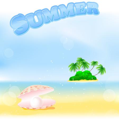 perle rose: coquille de mer avec perle rose sur la plage d'�t� avec �le tropicale