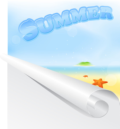 Summer beach with sign and roll of paper forward  Vector