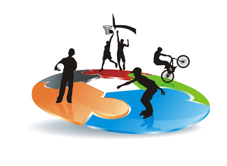 bicycler: roller, bicycler and basketball players silhouettes on abstract puzzle field  Illustration