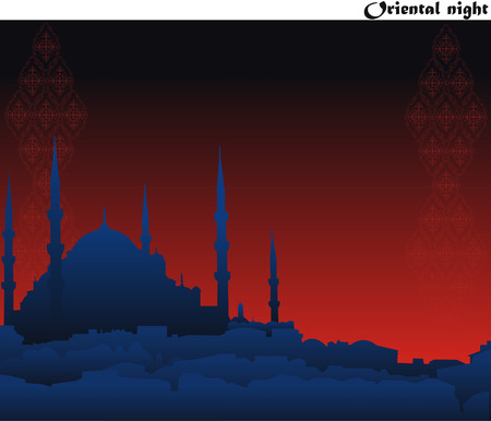 night silhouette of oriental mosque on ancient arabesque background