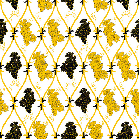seamless abstract golden and black grape pattern  Vector