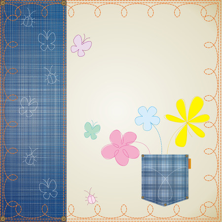 blue jeans frame embroidery decorated Vector