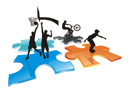 bicycler: roller, bicycler and basketball players silhouettes on abstract colorful puzzle field  Illustration