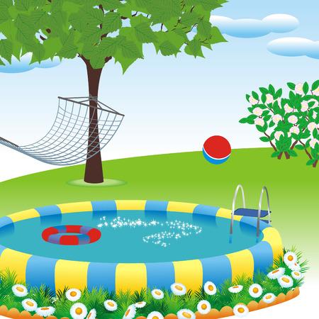 outdoor pool in the garden or park Vector