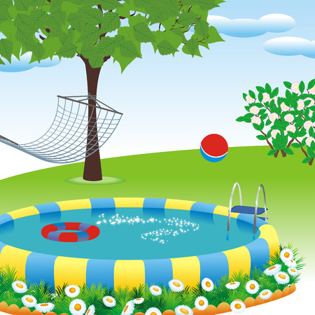 pool party: outdoor pool in the garden or park