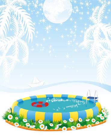 outdoor pool and dreams about tropical islands Vector