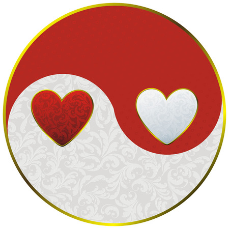 sign yin yang decorated vintage plant pattern and hearts