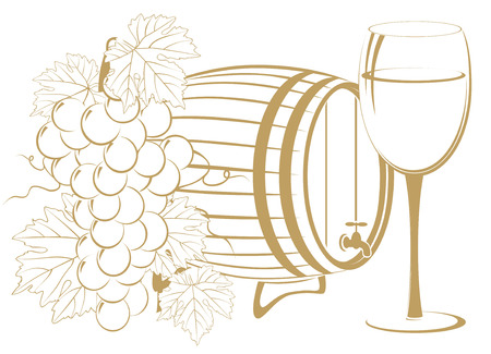 cask: template of bunch of grapes, cask wine and glass of wine Illustration