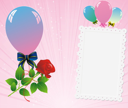 roze: colorful balloons with roze and congratulation card on abstract pink strip background