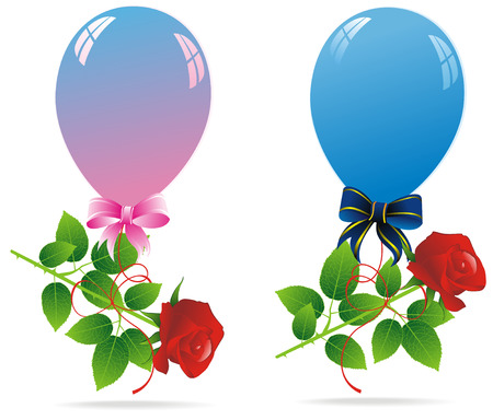 roze: couple of colorful balloons with red roze
