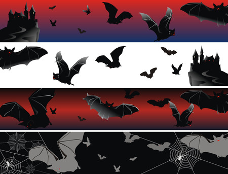 set of banners as bats in fly on a moonlit night Vector