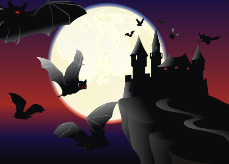 Bats over the black castle on a moonlit night Vector