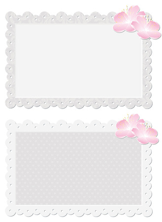 gray cards: couple gray cards with floral ornament and pink flowers