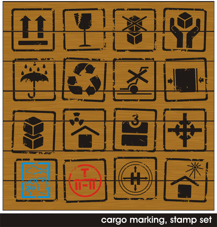 marking: set of cargo marking stamps on wooden boards